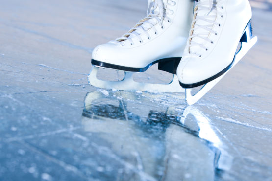 Tilted blue version, ice skates with reflection